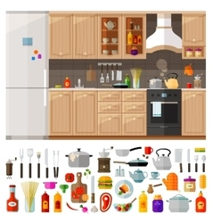 Kitchen set of elements - utensils tools food vector