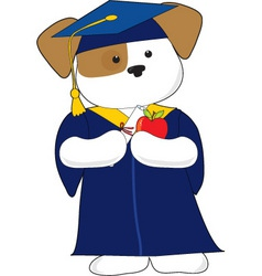 cute puppy graduation vector image