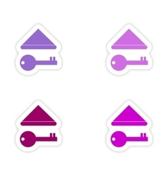 Assembly realistic sticker design on paper keys vector