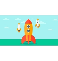Background of business start-up rockets vector