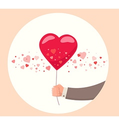 Man hand holding red balloon on white bac vector