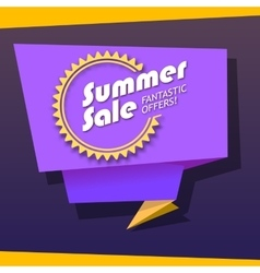 Summer sale origami banner vector