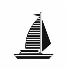 Yacht with sails icon simple style vector