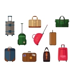 Different types of baggage carry-on luggage bags vector
