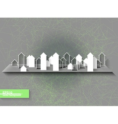 Abstract origami background with city silhouette vector image
