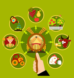 Agriculture magnifying lens concept vector