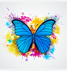 Blue butterfly and blots vector