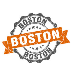 Boston round ribbon seal vector