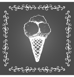 Chalk ice cream of three scoops and vintage frame vector