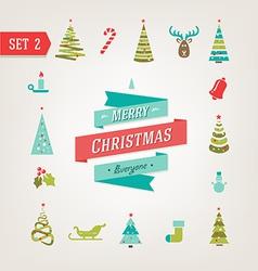 Christmas retro icons logo elements vector