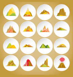 Collection of mountain icons in flat style vector