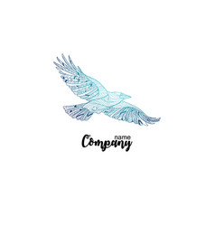 Colorful company icon of flying crow logo design vector