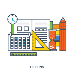 Concept of school equipment and school lesson vector