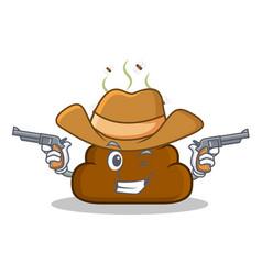 Cowboy poop emoticon character cartoon vector
