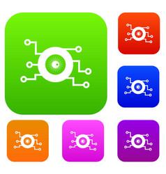 Cyber eye symbol set collection vector