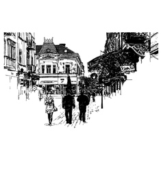digital sketch black and white of Uzhgorod vector image vector image