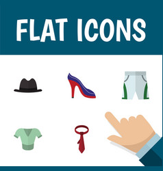 flat icon clothes set of panama cravat heeled vector image vector image