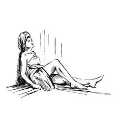 hand sketch woman in sauna vector image vector image