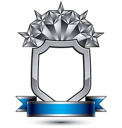 Heraldic template with five pentagonal silver vector