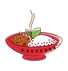 Hot lamb curry with riceand herbs in big bowl vector