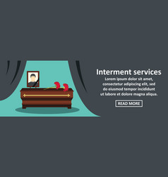 Interment services banner horizontal concept vector