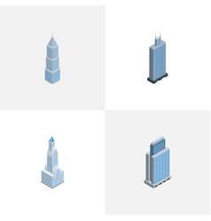 Isometric construction set of urban exterior vector