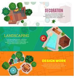 Landscape design horizontal banners vector