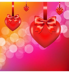 Lights Background With Heart And Bow vector image vector image