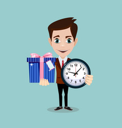 Man holding a gift box and a clock vector