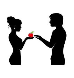 People and the forbidden fruit vector