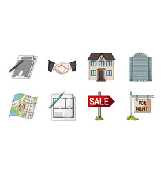 Realtor agency icons in set collection for design vector