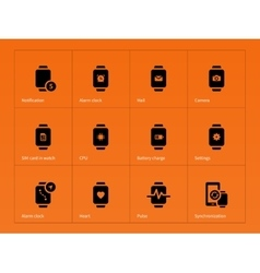 Sim card and cpu in watch icons on orange vector