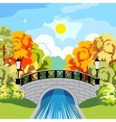 Solar autumn in the park idyllic vector image vector image