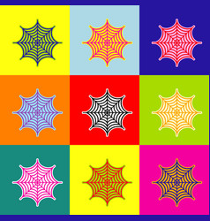 spider on web pop-art style vector image