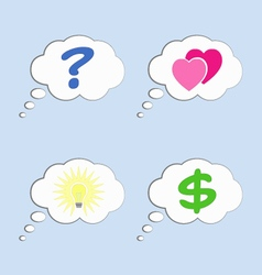 Thought bubbles with different signs vector image vector image