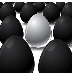 White egg Among Black eggs concept vector image