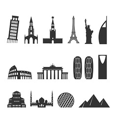 Landmark travel set silhouette architectural vector