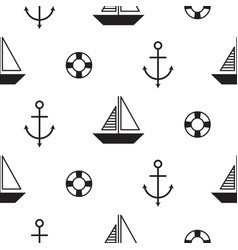 Sailboat seamless nautical pattern in vector