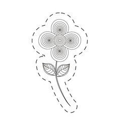 Flower decoration cut line vector