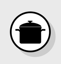 cooking pan sign  flat black icon in white vector image