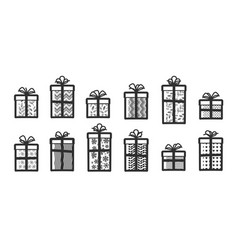 Gifts set icons surprise wrapping gift box vector