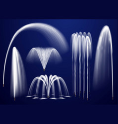 Realistic fountains on blue background set vector