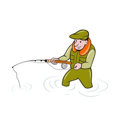 Fly fisherman with fishing rod fishing vector