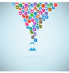 Template design businessman idea with social netwo vector