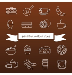 Breakfast outline icons vector