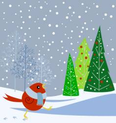 Snowbird and trees vector