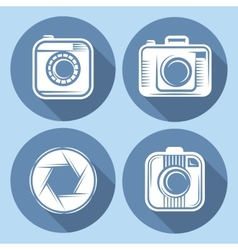 Set of hipster cameras or web icons with long vector
