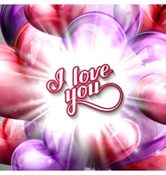 I love you label on the festive balloon hearts vector