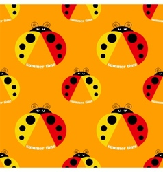 seamless pattern with ladybug vector image