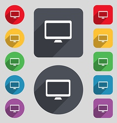 Computer widescreen monitor icon sign a set of 12 vector